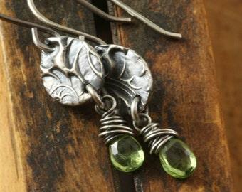 Silver Peridot Earrings, Boho Earrings, Woodland Petal Leaf Earrings August January November Birthday Birthstone Gift for her