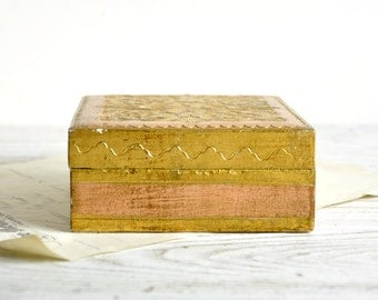 Italion Florentine Box, Trinket Box, Wood Jewelry Box