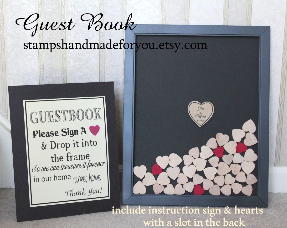 265 Hearts Wedding Book Frame Guest Book Drop By ALovelyDetailCo