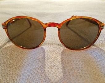 Vintage 1990's Round Tortoise Brown Sunglasses ~ Plastic Frames Gold