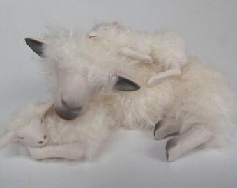 Handmade English Cotswold With Twins   A Sleeping Ewe Sandwich
