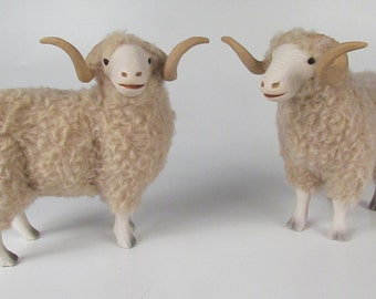 Colin's Creatures  Ram Figures in Porcelain and Wool - Rambouillet
