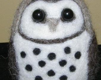 Barn Owl in Needle Felted Wool Fiber Art Sculpture
