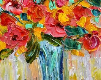 Flowers painting original oil 6x6 palette knife impressionism on canvas fine art by Karen Tarlton