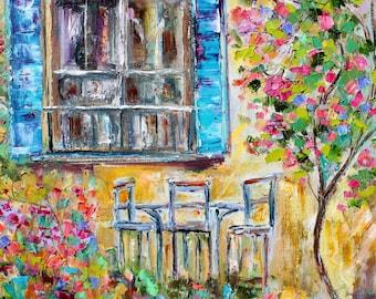 Original oil painting Garden Sunshine palette knife impressionism on canvas fine art by Karen Tarlton
