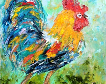 Rooster painting original oil abstract palette knife impressionism on canvas fine art by Karen Tarlton