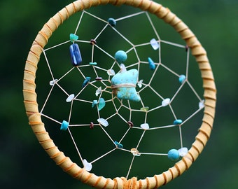 Dreamcatcher, with turquoise, quartz, moonstone, citrine, brass