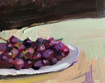 Purple Grapes on Plate Original Still Life Fruit Oil Painting by Angela Moulton 6 x 6 in on birch plywood panel
