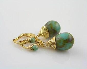 Wire Wrapped Earrings, Green Earrings, Beaded Earrings in green and gold, Czech Glass Earrings, Czech Bead Jewelry, Small Earrings