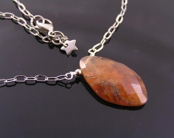 Hessonite Garnet Necklace, Garnet Jewelry, Wire Wrapped Garnet Pendant, Large Garnet, Wire Wrapped Gem Necklace, Gem Jewelry