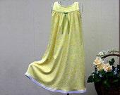 Girls' NIGHTGOWN-Size 10 // 100% Cotton-Knit / Yellow Pajamas, Sleepwear, White Eyelet trim // mid-weight fabric (9oz) // Ready to Ship