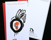 Rooster, Year of the Rooster, Chinese new year cards w/ red envelope, original sumi ink painting, new baby, holiday greetings, baby shower