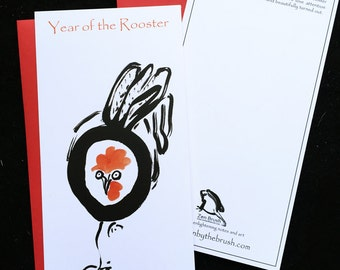Rooster, Red fire bird Losar, Year of the Rooster Chinese new year card w/ red envelope, original art, new baby shower greeting card