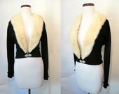 Luscious 1950's Black Cashmere Cocktail Sweater with Winter White Mink Collar Rockabilly VLV Pinup Sweater Girl Vixen Size-Large