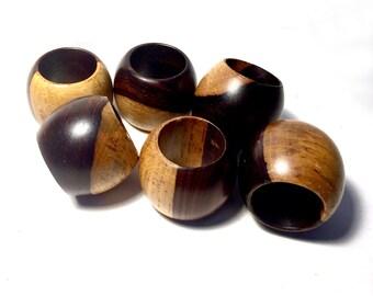 Wood Napkin Rings, Mid Century Wooden Napkin Rings, Six Two Tone Wood Napkin Rings, Round Wood Danish Modern Napkin Rings