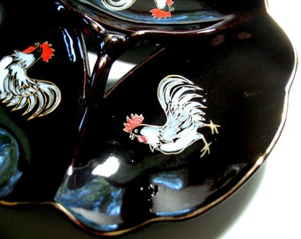 Redware Rooster Plate, Vintage Redware Divided Plate, Redware Chicken Rooster Plate, Divided Vintage Redware Rooster Plate