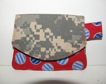 Army ACU Red, White, and Blue Dots Little Wallet