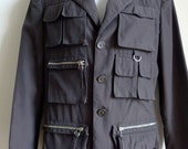 RESERVED Jean Paul GAULTIER dark charcoal grey multi-pocketed jacket