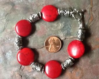 Red Stone Bracelet, Ethnic Coral Bracelet, Red Silver Bracelet, Bright Red Bracelet, Boho Bracelet