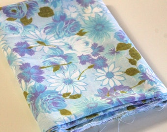 Vintage Sheet Fabric reclaimed vintage bed sheet bed linen fabric retro turquoise blue purple rose shabby camper chic quilting fabric