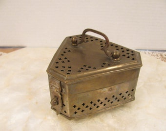 Brass Cricket Box - Censer - Potpourri - Vintage - Triangle Shape - Great Condition Made in India