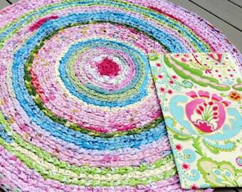 "rag rug, baby, bedding, Lilly Pulitzer bedding, ""braided"" rug, kumari girl crib bedding, baby bedding, crib skirt"