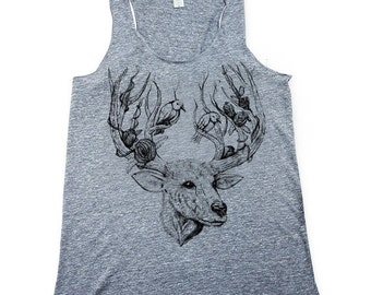 Deer Tank Top - Illustrated deer and birds - deer top - Women's deer Tank Top - outdoors - forest - antlers - Small, Medium, Large, XL