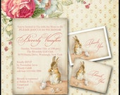 Bunny Rabbit Invitation / Peter Rabbit Tea Invite / Baby  or Bridal Shower, Birthday, Tea Party / DIY Printable / Coral or Blue / Teacups
