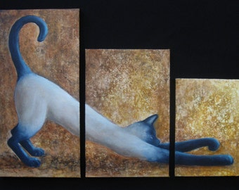 Siamese Cat Art Triptych