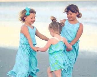 Seashore Romper Pattern, Girls Romper Pattern, Easy Sewing Pattern, Girls Dress Pattern, Girls Top Pattern, Knit Sewing Pattern,