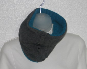 Cashmere cowl - felted and upcycled- cables