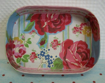Decoupaged Tray Cath Kidston Designed Papers One of a Kind Upcycled Repurposed