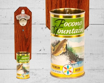 Fishing Gift Fisherman Bottle Opener with Vintage Pocono Mountain Lake Scene Beer Can Cap Catcher - Gift for Groomsmen