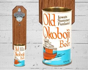 Cap Catcher Old Okoboji Wall Mounted Bottle Opener with Vintage Iowa Beer Can Cap Catcher - Groomsmen Gift