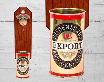 Gift for Guy Wall Mounted Bottle Opener with Vintage Frydenlunds Norway Beer Can Cap Catcher - Norwegian Gift for Groomsmen