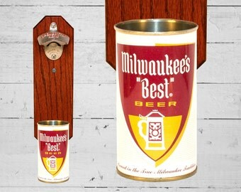 Milwaukee's Best Wall Mounted Bottle Opener with Vintage Beer Can Cap Catcher - Gift for Guys