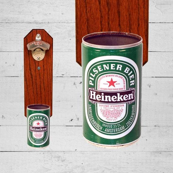 Mur mont d capsuleur avec bi re heineken vintage peut par for Decapsuleur mural biere