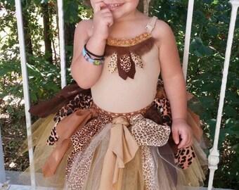 Cave Girl Costume, Cave Girl Tutu Costume, Jungle Princess, Halloween Costume For Girls, Handmade Costume, Wild Child Costume, Halloween Cos