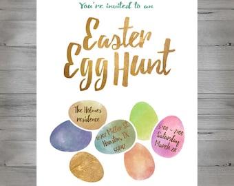 Watercolor Easter egg hunt invitation printable PDF