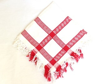 Vintage Red and White Woven Kitchen Cloth