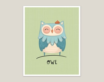 Blue Owl - Art Print 8x10