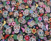 Sugar skull fabric DESTASH 3.5 yard