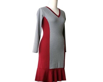 Jersey dress, Long sleeve dress, Plus size dress, Ruffle dress, V neck dress, Day dress, Plus Size Clothing, Winter dress, Made to order