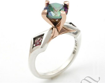 Mystic Topaz Statement Ring - Sterling and 14k Rose gold