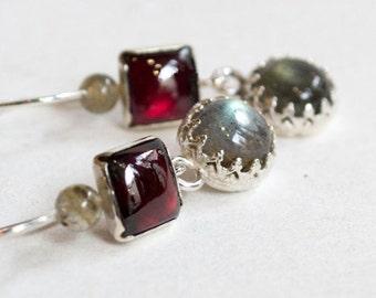 Garnet earrings, labradorite earrings, Sterling Silver Earrings, Gemstone earrings, long earrings, Everyday earrings - Thoughtful E8021