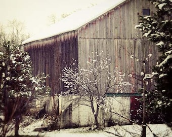 Rustic Home Decor, Old Red Barn Photograph, Rustic Red Barn in Snow Print, Country Barn Landscape, Winter Barn Photograph 8x10