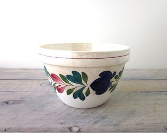Vintage Pottery Mixing Bowl with Hand Painted Flowers T. G. Green Church Gresley Made in England