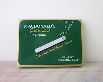 Vintage Metal Cigarette Tin Box MacDonald's Gold Standard Virginia Advertising