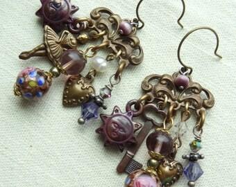 Handmade Filigree and Chocolate Charm Dangle Earrings