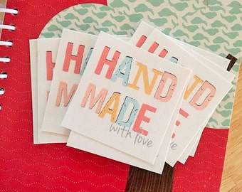 HAND MADE with love fabric label